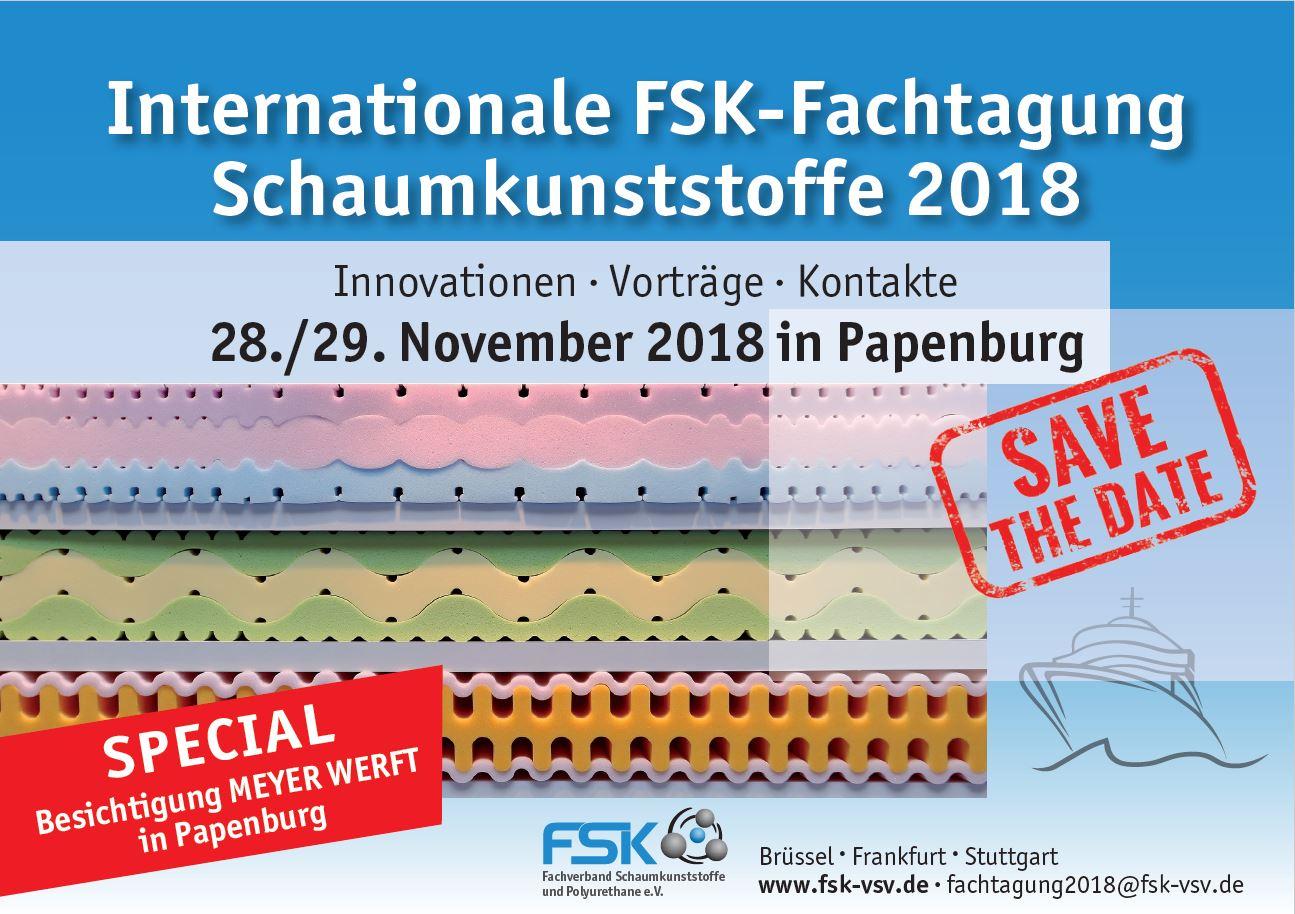 Save the Date Flyer der Internationalen FSK-Fachtagung Schaumkunststoffe 2018