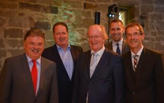 PDR feiert 25. jähriges Firmenjubiläum: v.l. Klaus Peter Söllner (Landrat des Landkreises Kulmbach), Klaus Junginger (Geschäftsführer des FSK e.V.), René van Diessen (PDR- Beiratsvorsitzende), Martin Bernreuther (Bürgermeister Thurnau) und Dr. Thomas Hillebrand (Geschäftsführer PDR Recycling GmbH + Co. KG)